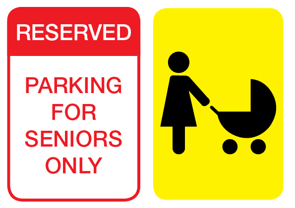 Seniors and people with prams parking signs